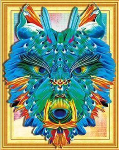 Алмазная Мозаика 5D 40x50 Голубой волк