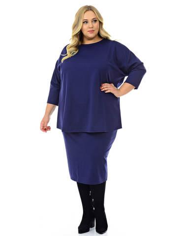Блуза свободная из джерси тёмно-синяя