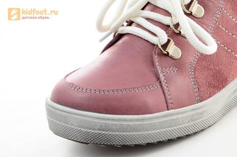 Зимние ботинки для девочек из натуральной кожи на меху Лель на молнии и шнурках, цвет ириc. Изображение 9 из 13.