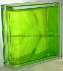 Торцевой стеклоблок тархун окрашенный изнутри Vitrablok 19x19x8