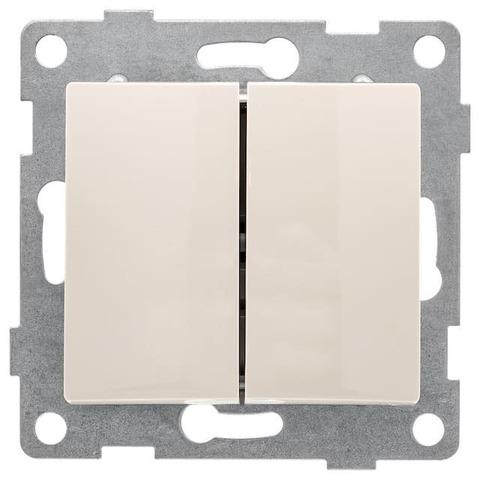 Выключатель двухклавишный, 10 А 220/250 В~. Цвет Бежевый. Bravo GUSI Electric. С10В2-003