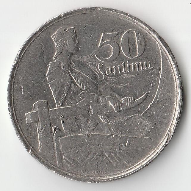 Монета 50 сантим 1922 года.
