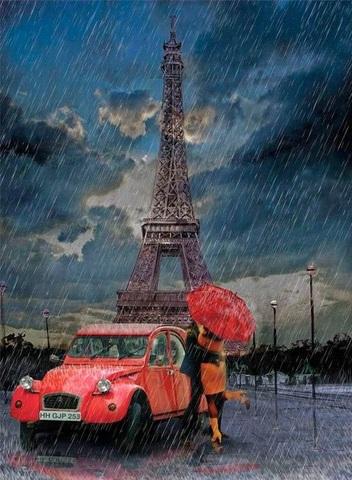 Алмазная Мозаика 40x50 Поцелуй влюбленных на фоне эйфелевой башни
