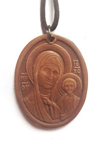 Икона нательная Богородица Казанская кожаная  с кожаным шнурком на шею овальная