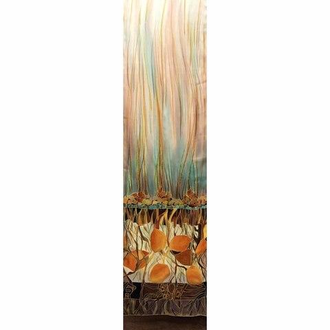 Шелковый шарф батик Апельсины в шоколаде с-57
