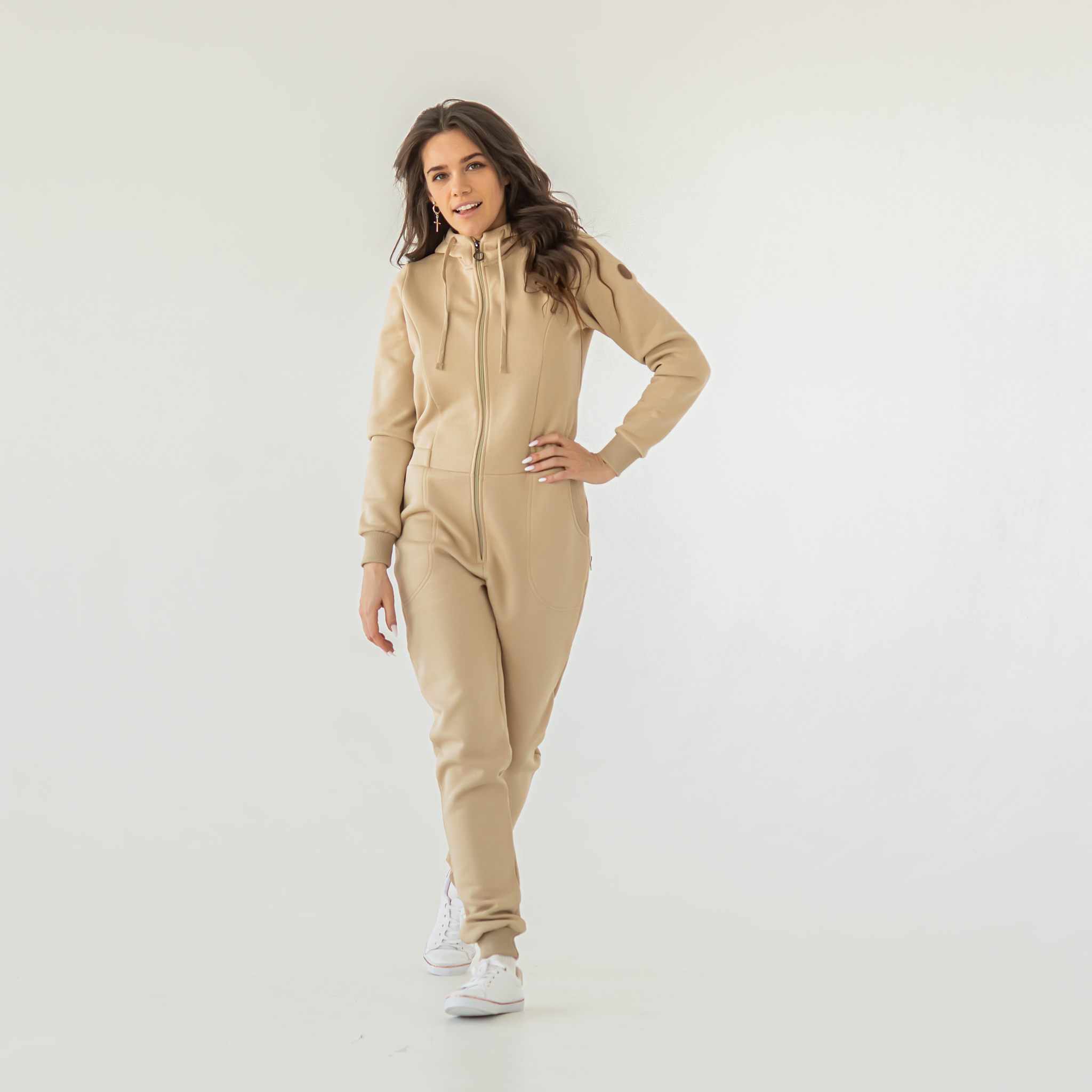 Warm hooded jumpsuit with flap for women - Safari