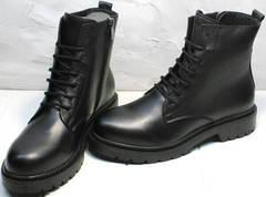Обувь типа мартинсов. Модные ботинки женские со шнуровкой осень весна Misss Roy 252-01 Black Leather.
