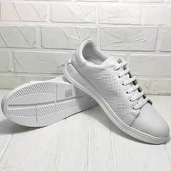 Белые кроссовки кеды с белой подошвой женские Evromoda 141-1511 White Leather.