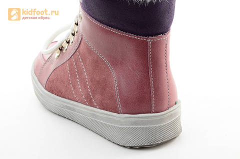 Зимние ботинки для девочек из натуральной кожи на меху Лель на молнии и шнурках, цвет ириc. Изображение 11 из 13.