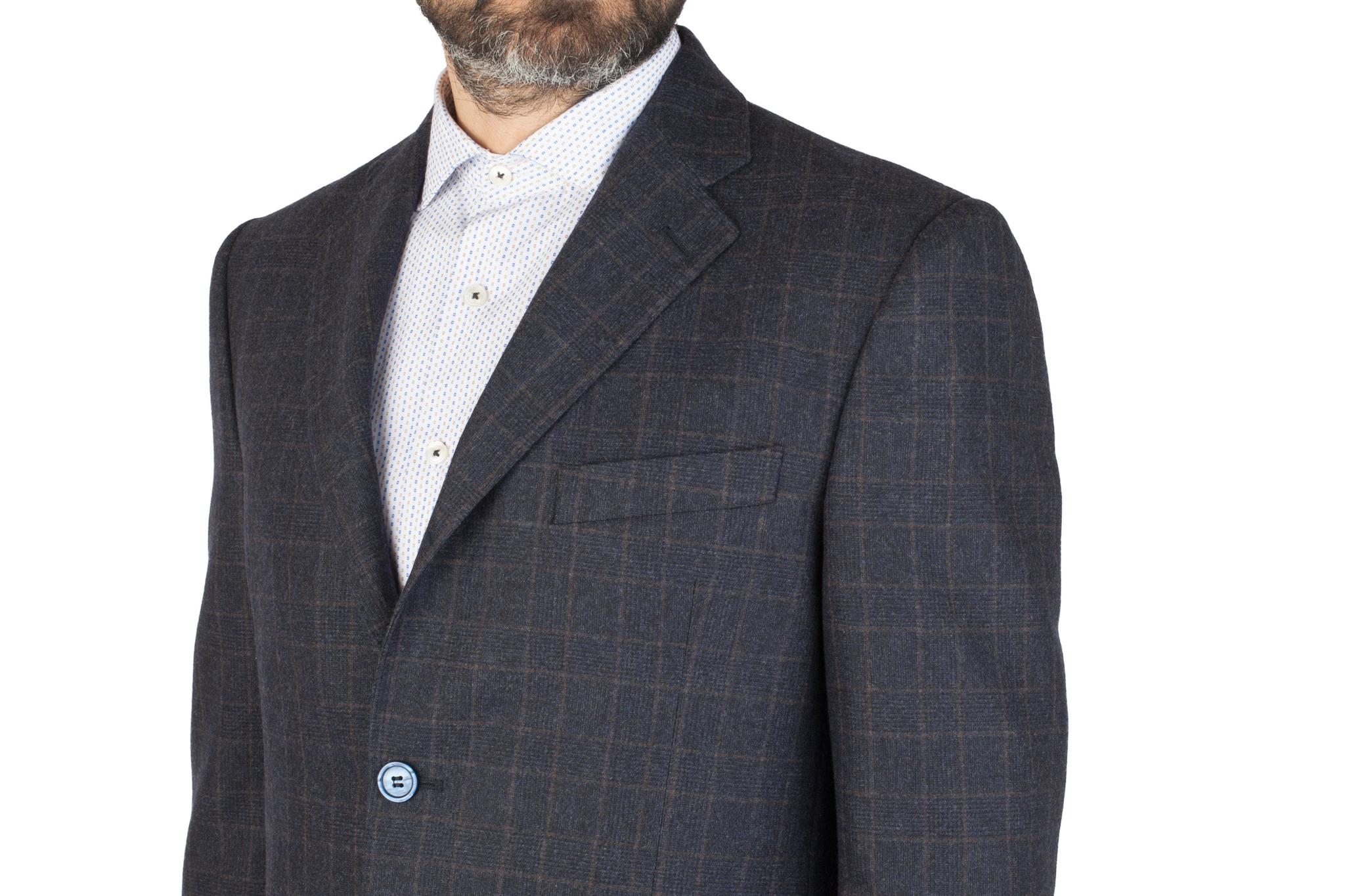 Тёмно-синий костюм в клетку из 100%-ной шерсти, нагрудный карман