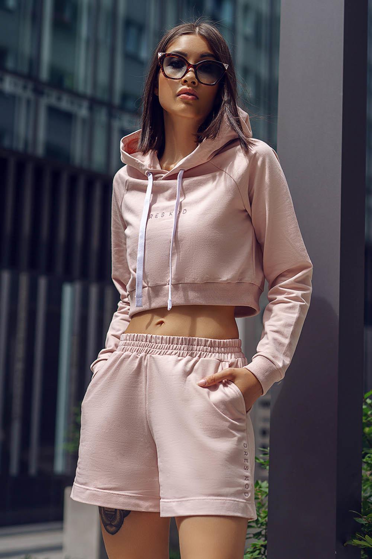 Пудрово-розовое укороченное худи с капюшоном