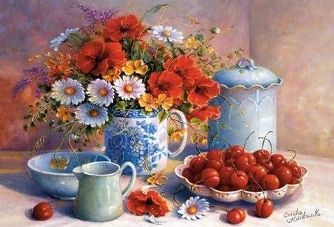 Алмазная Мозаика 40x50 Полевые цветы рядом с ягодами (арт. S267 )
