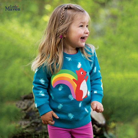 Свитшот для девочки Little Maven Радужная белка
