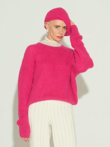 Женский джемпер розового цвета из мохера и шерсти - фото 2