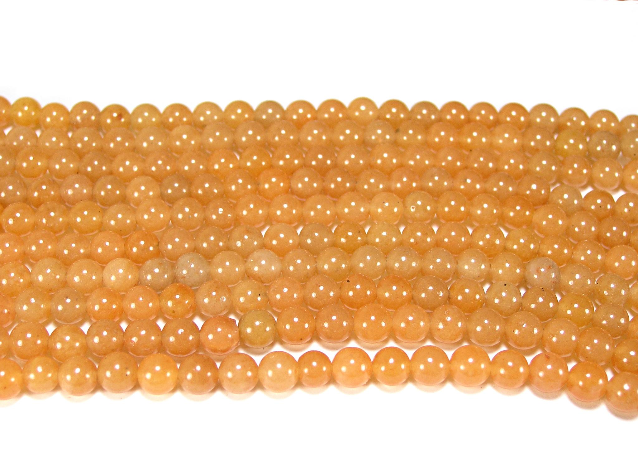 Нить бусин из авантюрина красного, шар гладкий 6мм