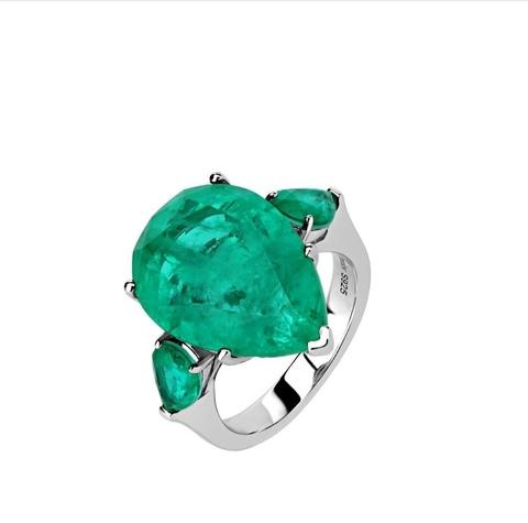 15264- Кольцо Emerald из серебра с изумрудным кварцем кушон