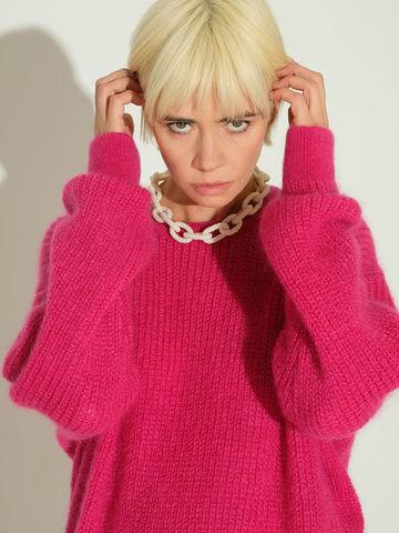 Женский джемпер розового цвета из мохера и шерсти - фото 4