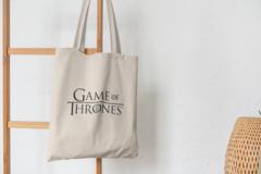 Сумка-шоппер с принтом Игра престолов (Game of Thrones) бежевая 005