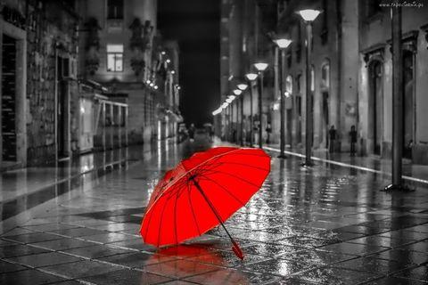 Алмазная Мозаика 40x50 Красный зонт на дороге