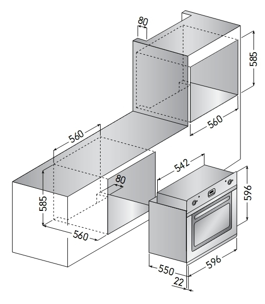Электрический независимый духовой шкаф ILVE 600 NMP-X
