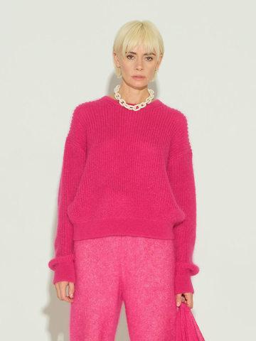 Женский джемпер розового цвета из мохера и шерсти - фото 3