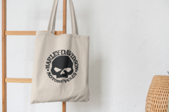 Сумка-шоппер с принтом Harley-Davidson (Харли-Дэвидсон) бежевая 007