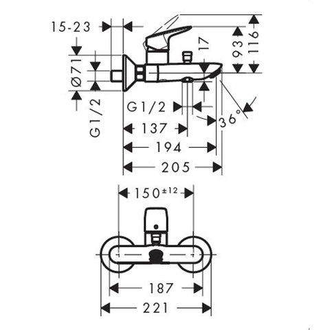 Смеситель для ванны Hansgrohe Logis 71400000 схема