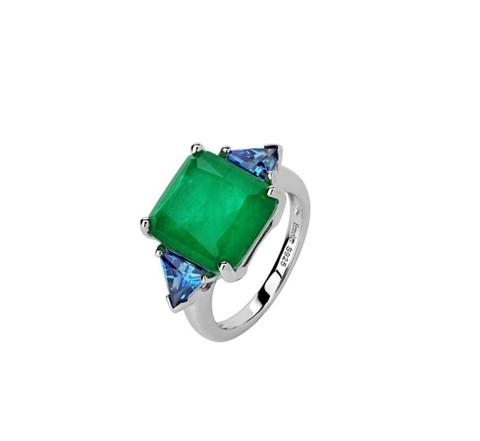 47446 - Кольцо из серебра с изумрудными и сапфировым кварцем