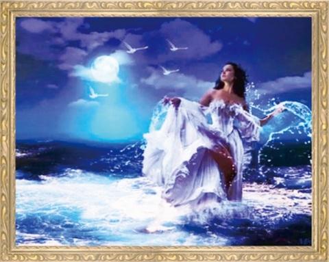 Алмазная Мозаика 50x65 Девушка - волна в ночи