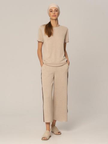 Женские брюки песочного цвета из вискозы - фото 2