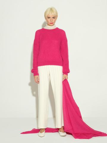 Женский джемпер розового цвета из мохера и шерсти - фото 5
