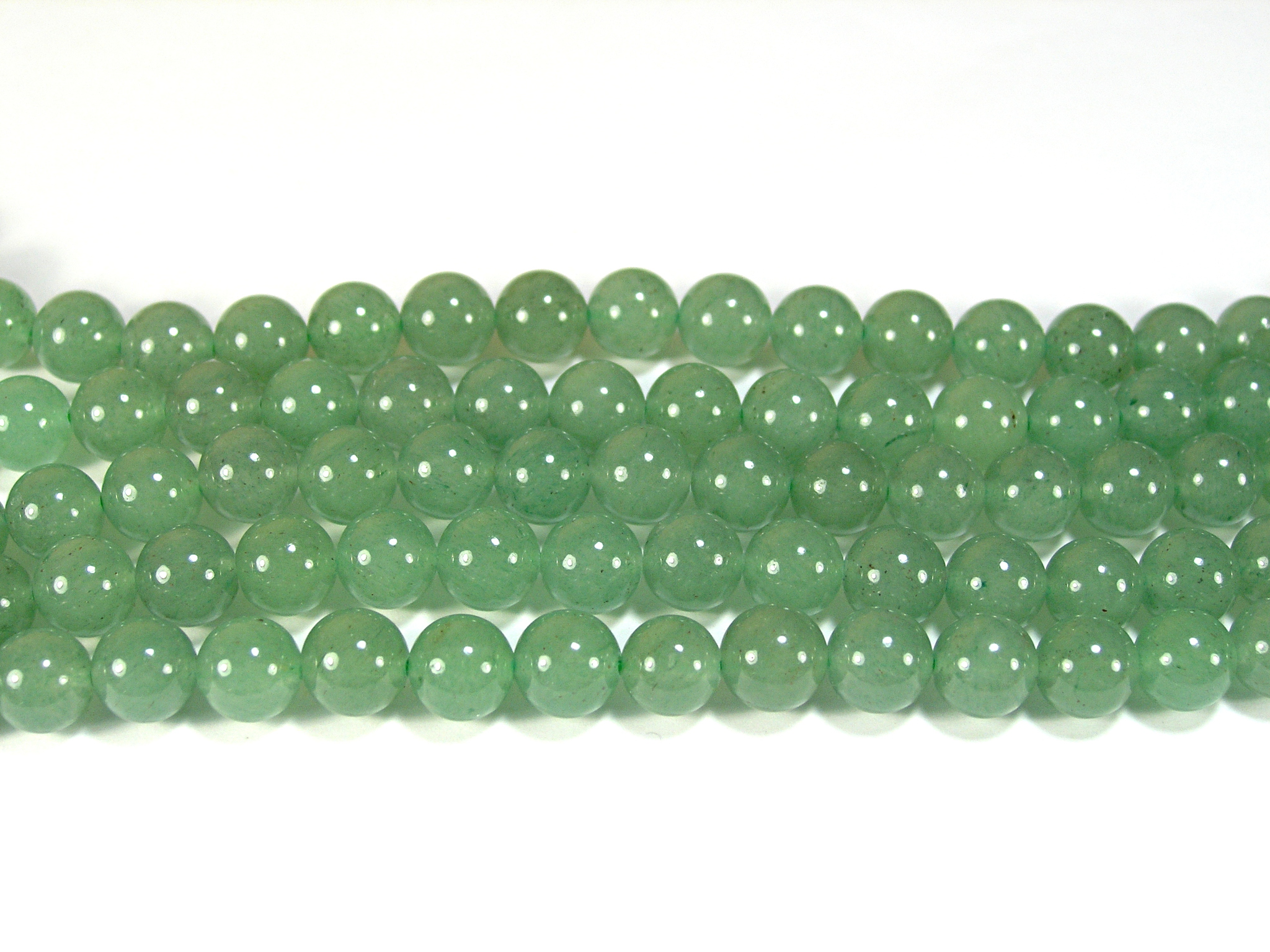 Нить бусин из авантюрина зеленого, шар гладкий 8мм