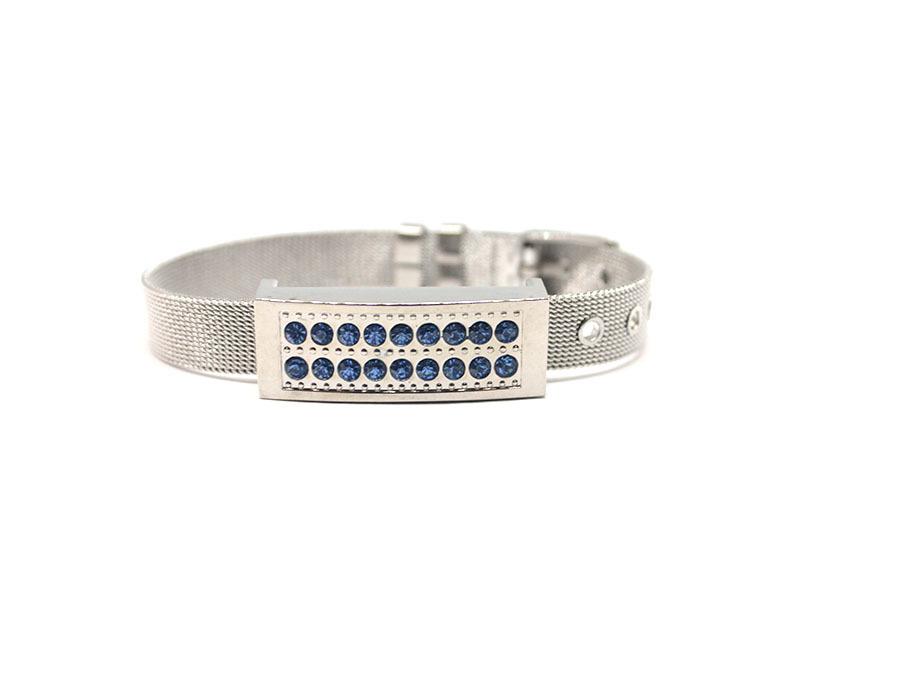 usb-флешка металлический браслет серебро с голубыми стразами