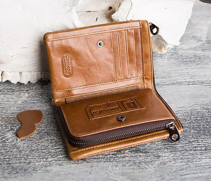 WL285-2 Мужской кошелек из натуральной кожи на молнии фото 06