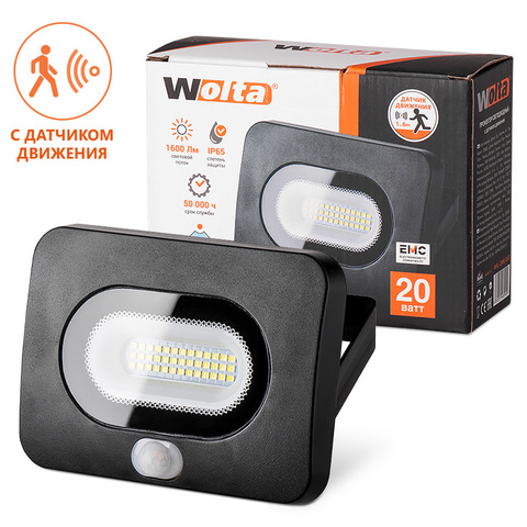 Прожектор светодиодный с датчиком движения WOLTA WFL-20W/05s 5500K 20W IP65