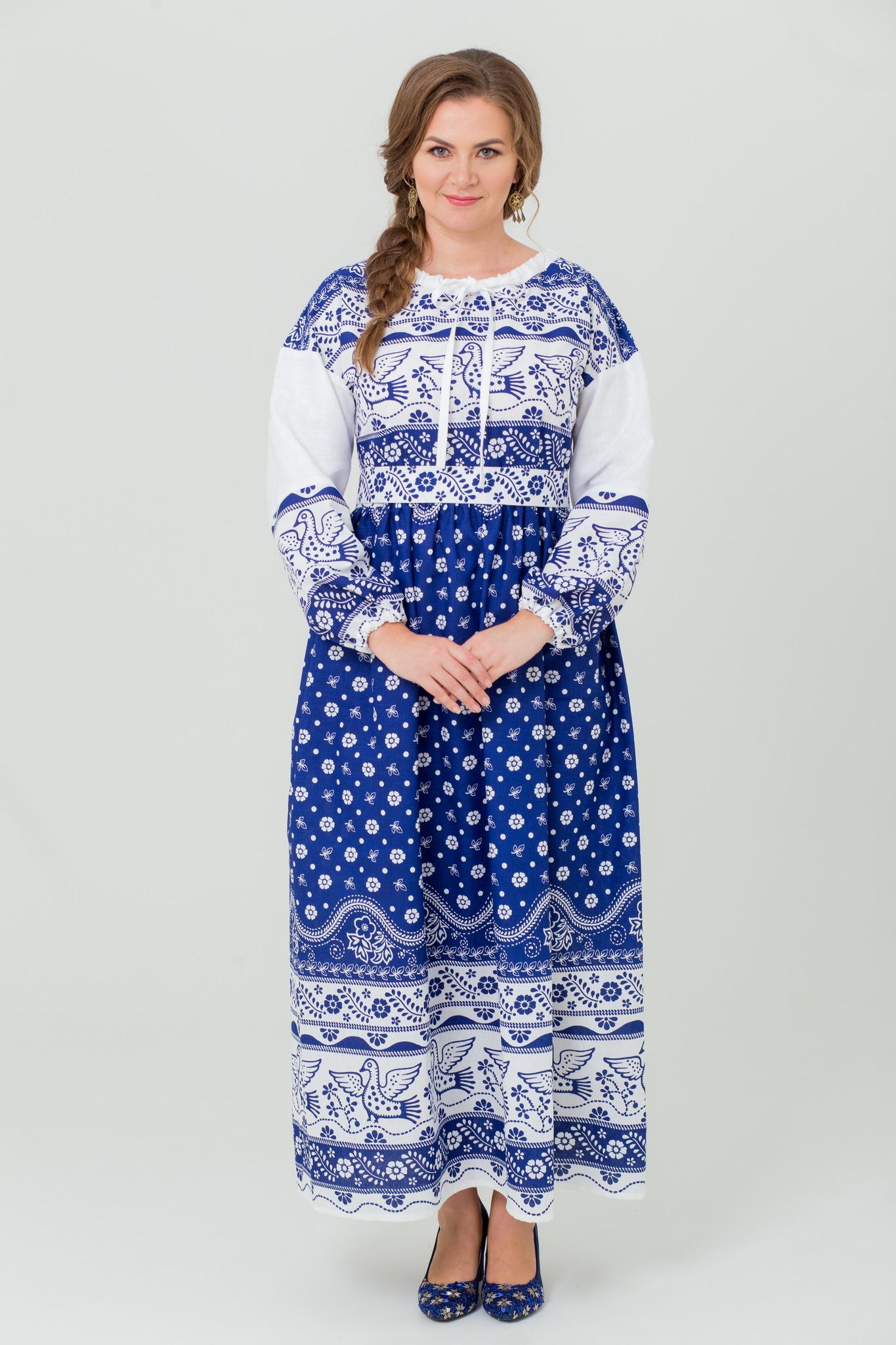 Платье льняное в русском стиле Певчее в синем