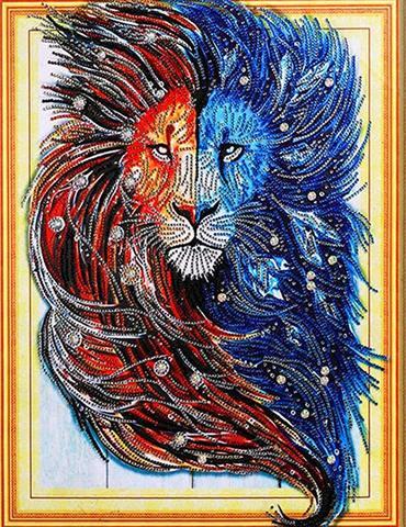 Алмазная Мозаика 5D 40x50 Две морды льва