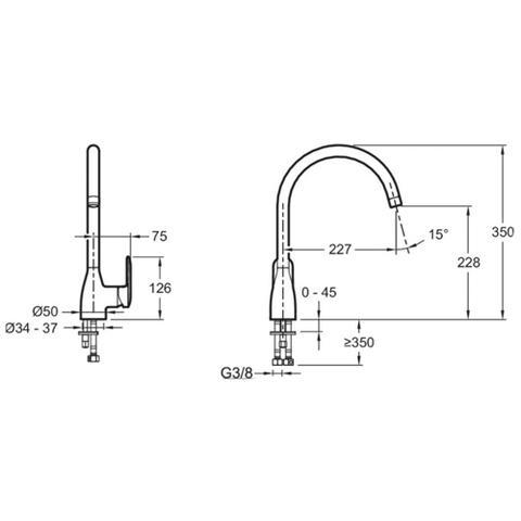 Смеситель для кухни Jacob Delafon Kumin E99477-CP схема