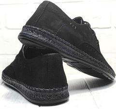 Мужские кожаные мокасины туфли на шнуровке летние стиль смарт кэжуал Luciano Bellini 91754-S-315 All Black.