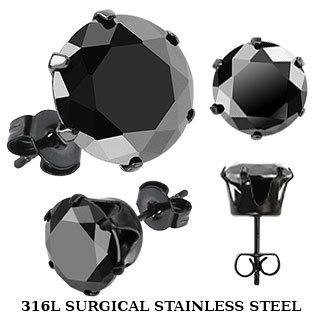 Серьги-гвоздики чёрные с цирконом из нержавеющей ювелирной медицинской хирургической стали 316L SPIKES SERDK-6