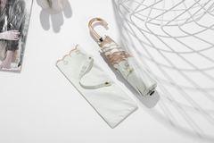 Суперлегкий женский зонт, ручка крюк, с защитой от УФ, механика, 6 спиц, рельефный кант (белый)