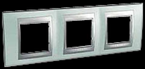 Рамка на 3 поста. Цвет Флюорит-алюминий. Schneider electric Unica Top. MGU66.006.094