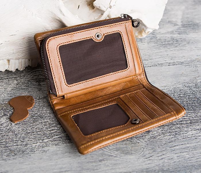 WL285-2 Мужской кошелек из натуральной кожи на молнии фото 07