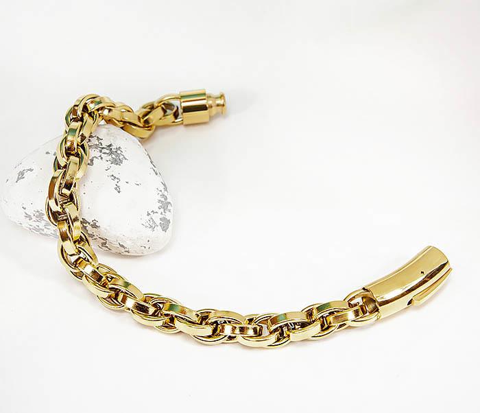 BM539-2 Крупный браслет цепь из стали золотистого цвета фото 02