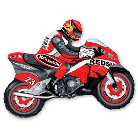 Фольгированный шар Мотоциклист красный