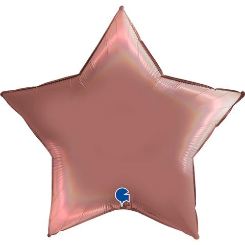 Воздушный шар звезда большая, Розовое золото, голография, 91 см