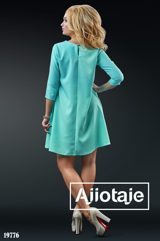 Платье с рукавом 3/4 мятного цвета