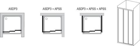 Душевая дверь Ravak Supernova ASDP3-90 белая+тpанспаpент 00V70102Z1 схема
