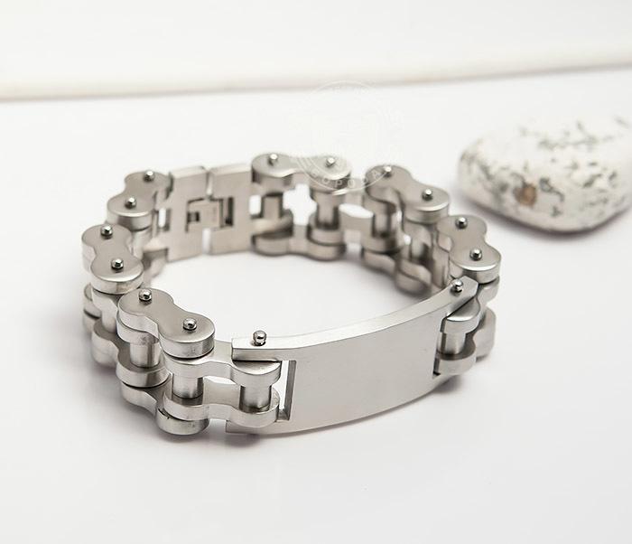 BM420 Огромный и широкий мужской браслет цепь из стали (22 см) фото 06