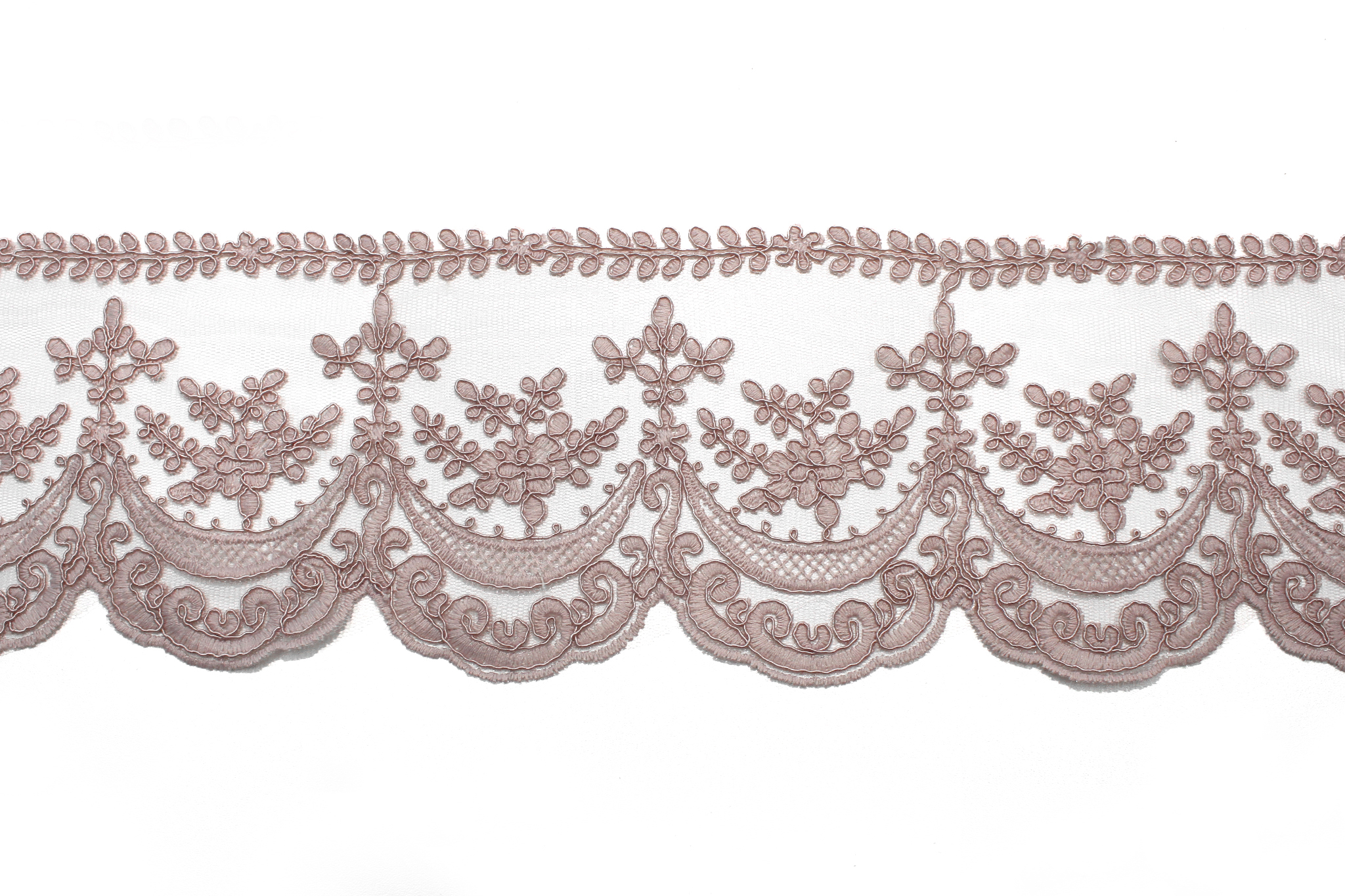 Кружево пыльно-розовое(листики), 13 см